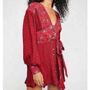 NWOT Free People wonderland mini dress in red